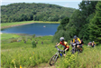 Bikers traversing Two Mile Runs bike trails